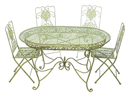 Garnitur Gartentisch 4 Stuhle grun Eisen Gartenmöbel Stuhl Antikstil Nostalgie