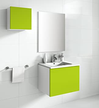 aleghe Eris Bathroom Cabinet, Green Gloss