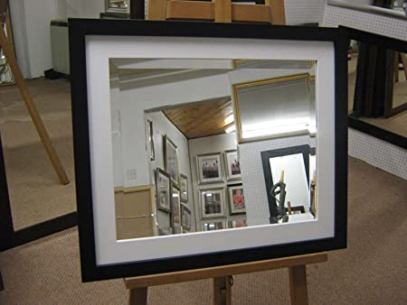 "NEW LARGE MODERN BLACK & WHITE FRAMED BEVEL OVERMANTLE WALL MIRRORS - 6 SIZES AVAILABLE - PRICES FROM £63.99, 46"" X 36"""