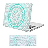 iCasso Macbook Pro 13 inch Case Rubber Coated Hard Shell Plastic Cover For Macbook Pro 13 Inch with CD-ROM Drive (Previous Generation) Model A1278 With Keyboard Cover-Blue&White Medallion (Color: Blue&White Medallion)