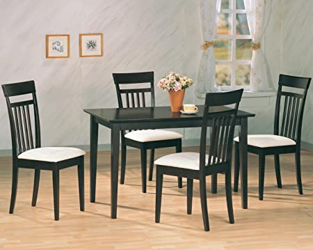 Contemporary Cappuccino Finish Dining Table and Chairs Set