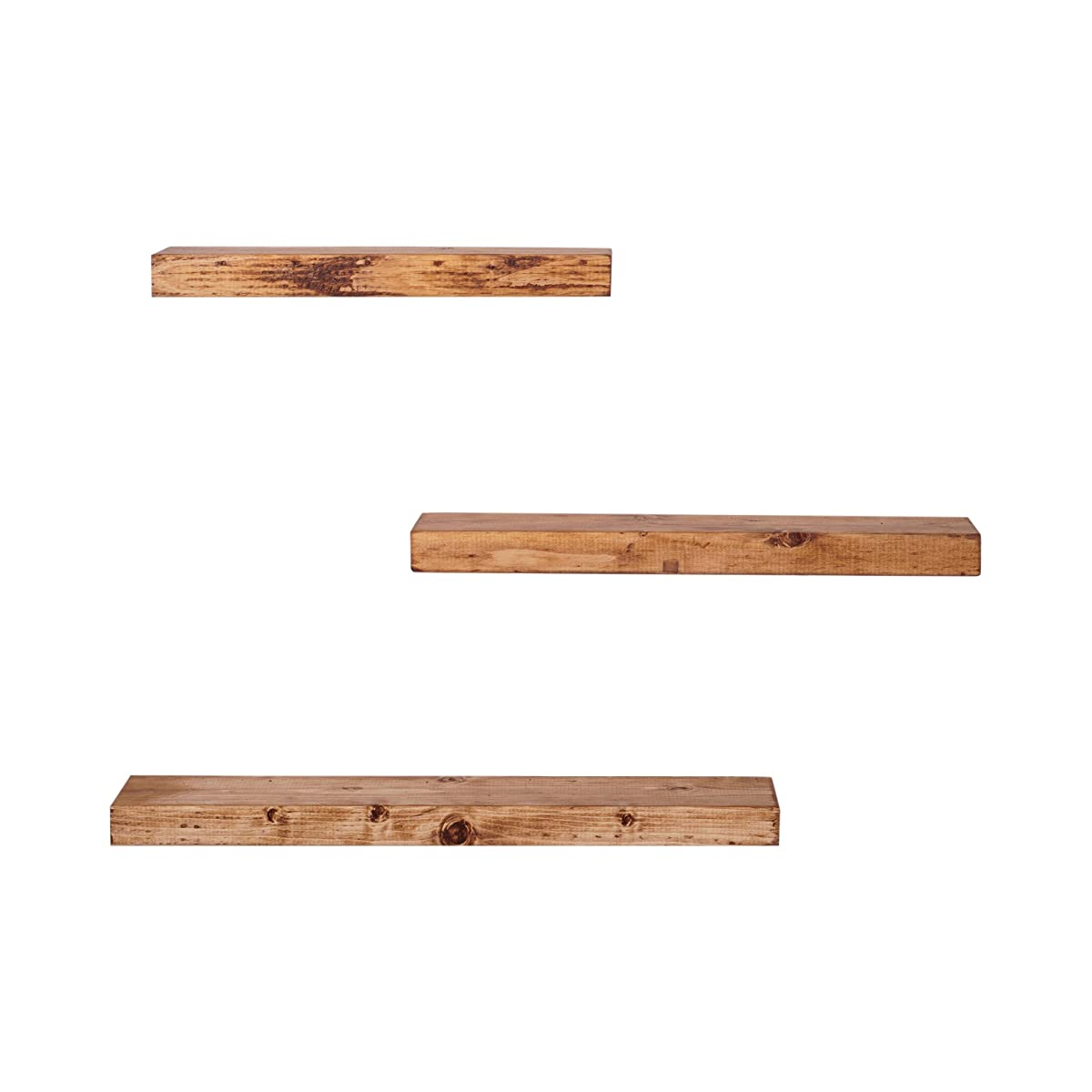 DAKODA LOVE Handmade Rustic Pine Wood Floating Shelves Set of 3 (Walnut)