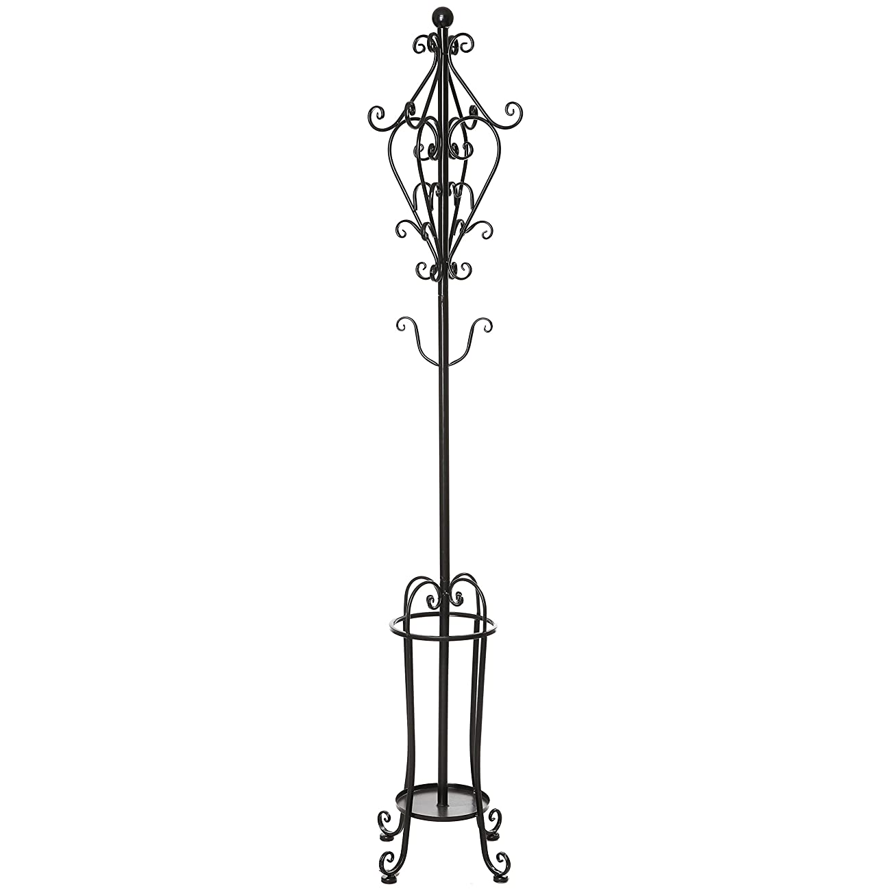 6' Freestanding Vintage Victorian Black Metal Scrollwork Coat Rack / Hat Hook Stand with Umbrella Holder 0