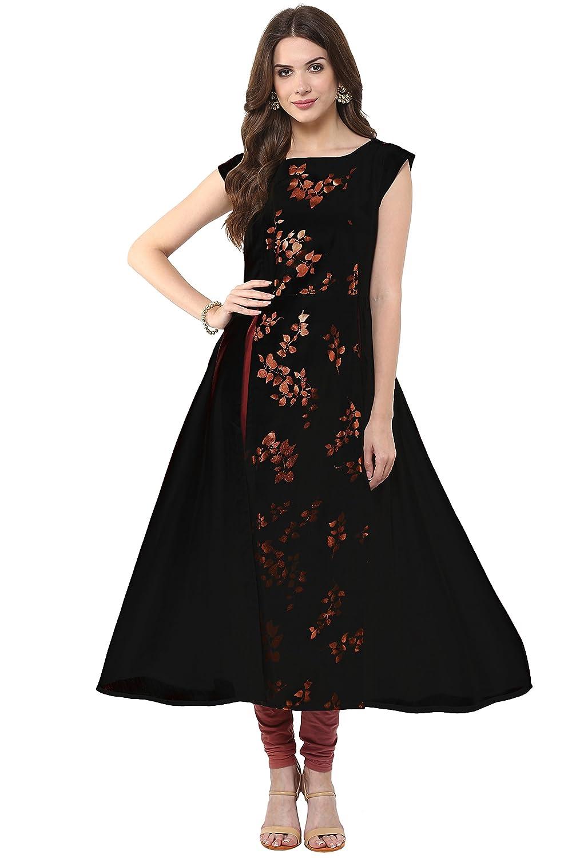 Shirt design kurti - Janasya Women S Black Anarkali Casual Crepe Kurti