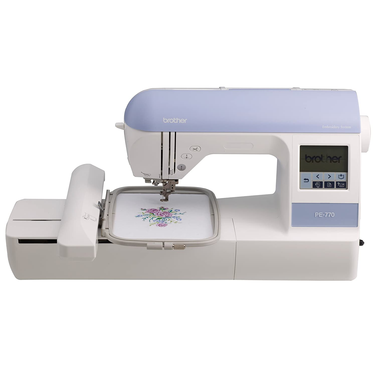 Brother PE770 5×7 inch Embroidery-only machine with built-in memory, USB port, 6 lettering fonts and 136 built-in designs