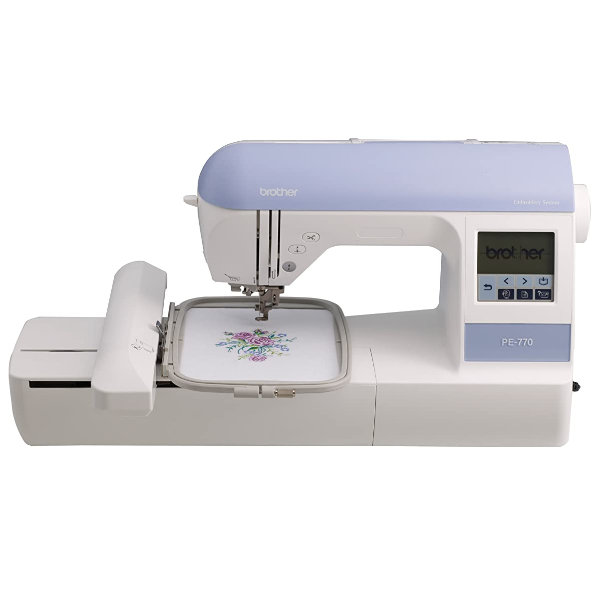 Brother PE770 5x7 inch Embroidery machine with built-in memory, USB port, 6 lettering fonts and 136 built-in designs
