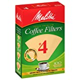 MELITTA Natural Brown #4 Cone Filters, Cone Coffee Filters, Replacement Filters, Coffee Maker Filters, Natural Brown, 100 Count (Pack of 6)