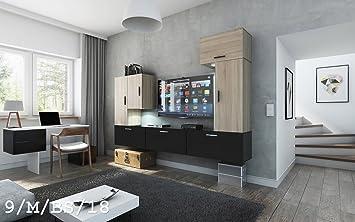 FUTURE 9 Moderno Conjunto De Muebles De Salón, Exclusiva Unidad De Entretenimiento, Mueble TV, Suite A Estrenar, Gran Variedad De Colores (Iluminación RGB LED Opcional) (9_M_BS_18, Mueble)