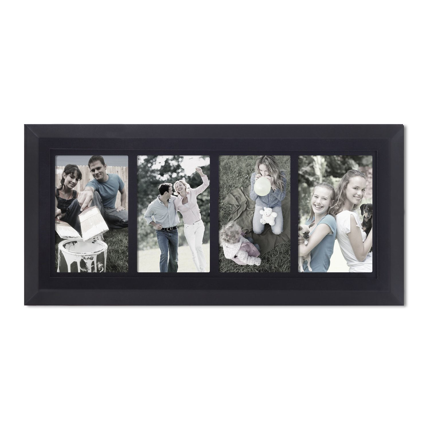 Adeco 4 Opening 4x6 Quot Black Wood Bevelled Wall Collage
