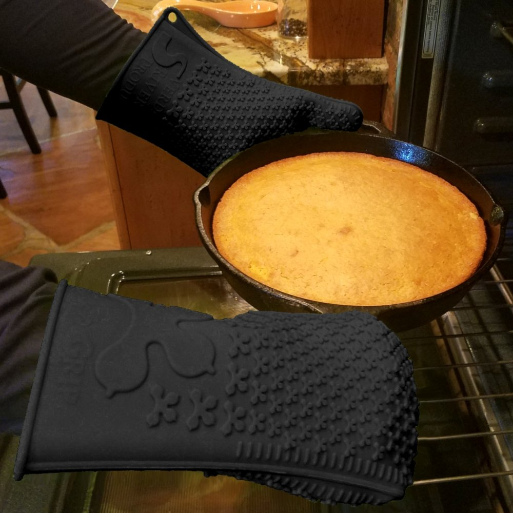 Verde River Products Gecko Grip Gloves, Silicone Heat Resistant Grilling BBQ, Oven, Grill, Baking, Smoking and Cooking Gloves, Med-Large, Black