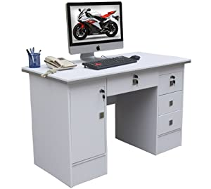 Computer Desk in White With 3 Locks 4 Home Office/Office Furniture 617/999 (White 617/999)       review and more information