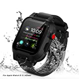 AIUERU Waterproof Apple Watch Case with Resilient Shock Absorption for 42mm Apple Watch Series 3 / Series2 / with 2 Soft Silicone Watch Band - Black (Color: Black, Tamaño: for 42mm)