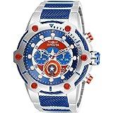 Invicta Marvel Captain America Men's 50mm Quartz Chronograph Stainless Steel Bracelet Watch (Model: 27965) (Color: Blue, Tamaño: 51.5mm)