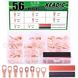 Keadic 56Ps UL Listed Copper Ring Terminals Assortment Kit with Heat Shrink Tubing - Black and Red (Color: Copper Ring Terminals - 56Pcs)