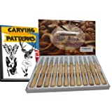 Sac Awa Wood Carving Tools Set. SK7 Carbon Steel Ergonomic 12 Piece Carving Tool Kit. Includes 1000+ Downloadable Carving Patterns.