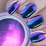 PrettyDiva Chameleon Chrome Nail Powder, Magic Mirror Effect Pigment Powder for Nails (Royalty)