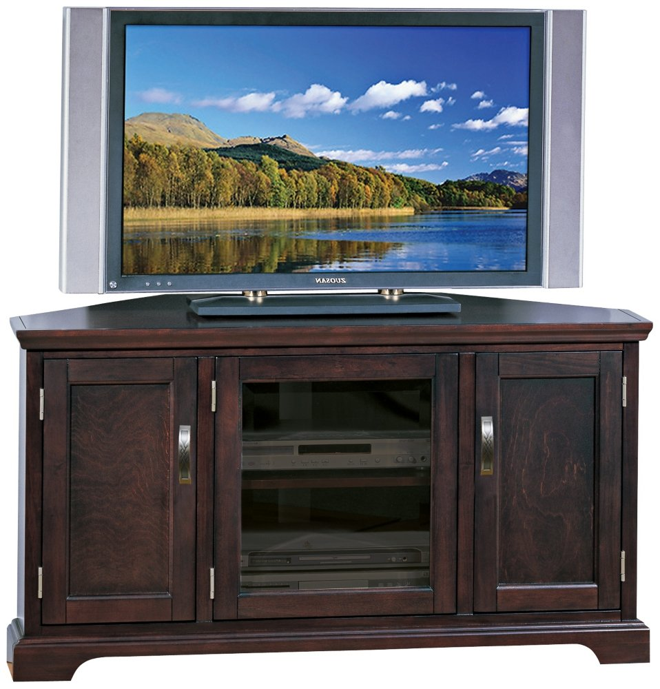 Leick Riley Holliday Corner TV Stand with Storage, 46-Inch, Chocolate