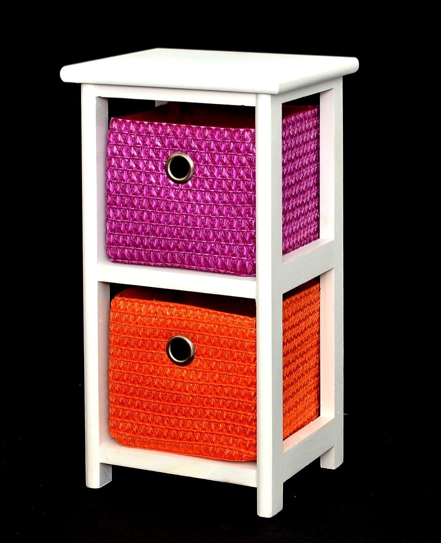 Kommode Nachttisch Schrank 43 cm Höhe Bad Regal Weiß mit 2 Körben in Orange und Lila für Kinderzimmer, Büro, Bad, Flur und Babyzimmer jetzt kaufen