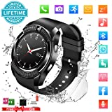 Smart Watch,Bluetooth Smartwatch Touch Screen Wrist Watch with Camera/SIM Card Slot,Waterproof Phone Smart Watch Sports Fitness Tracker for Android iPhone IOS Phones Samsung Huawei (Color: Black)
