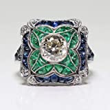 Yuren 925 Sterling Silver Vintage Emerald Ring Blue Sapphire White Topaz Ring Women Wedding Fashion Jewelry Size 6-10 (US Code 7) (Tamaño: US code 7)