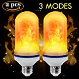 CPPSLEE LED Flame Effect Light Bulb - E26 Standard Base - Atmosphere Decoration Fire Flickering Simulation 105 pcs 2835 LED Beads -Flame Bulb for Home Decoration(2 Pack) (Color: 2 Pack)