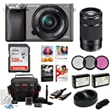 Sony Alpha a6000 Camera w/ 16-50mm & 55-210mm Lens & Corel Deluxe Imaging Software (Graphite) (Tamaño: Dual Lens)
