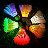 Inngree LED Badminton,Shuttlecock Dark Night Goose Feather Glow Birdies Lighting for Outdoor Indoor Sports Activities (Multicolour-6PCS) (Color: Multicolour-6PCS, Tamaño: 6)