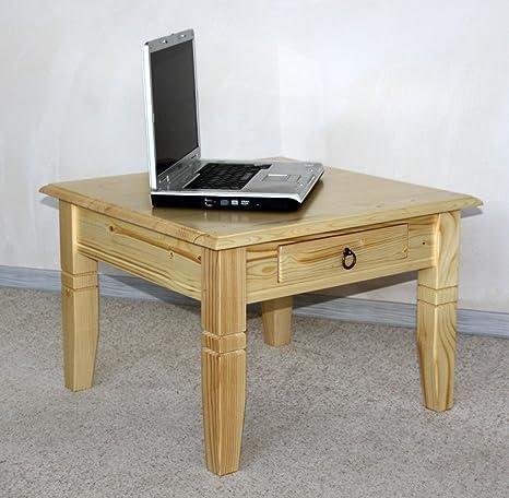Massivholz Couchtisch Beistelltisch natur lackiert Sofatisch Tisch 65x65cm mit Schublade