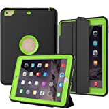 iPad 5th/6th Generation Case, SEYMAC Smart Case [Protective Cover] with Auto Sleep Wake Function, Three Layer Drop Protection Rugged/Heavy Duty Case for 2017/2018 New iPad (Green) (Color: Green, Tamaño: 7 Inch)