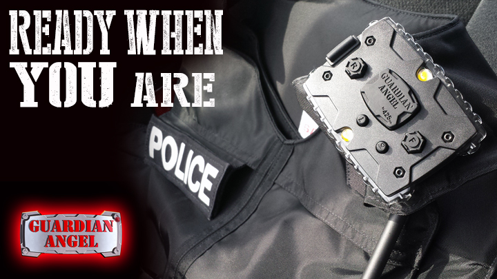 Guardian Angel by 425, Inc. attached to a police vest using the magnet mount.