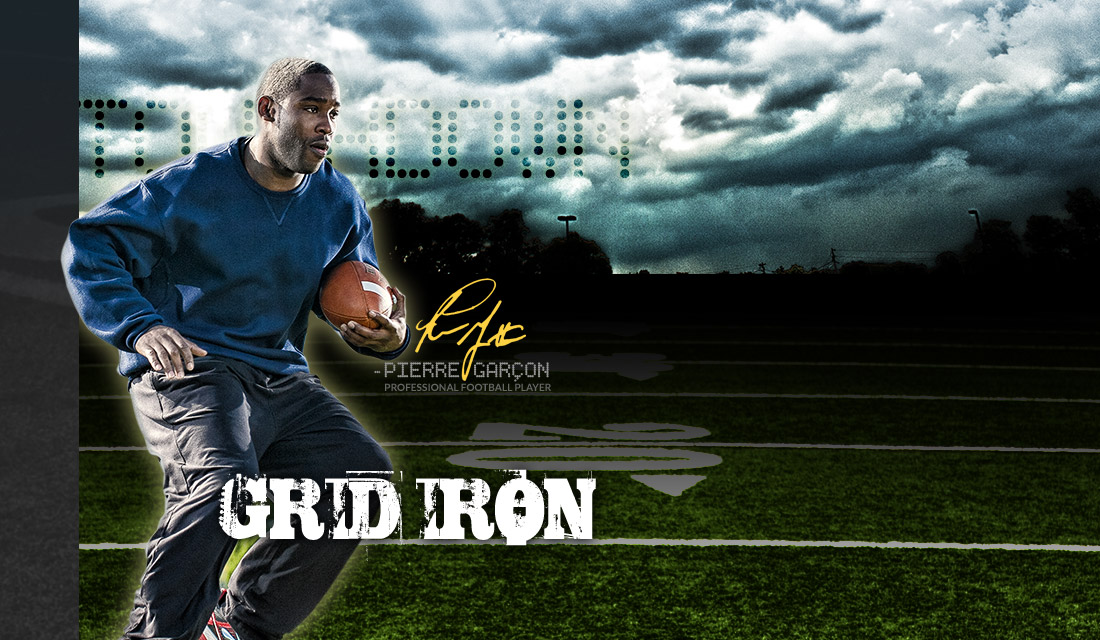 Professional Football Player Pierre Garcon making a play on the Football Field with his Spalding Football
