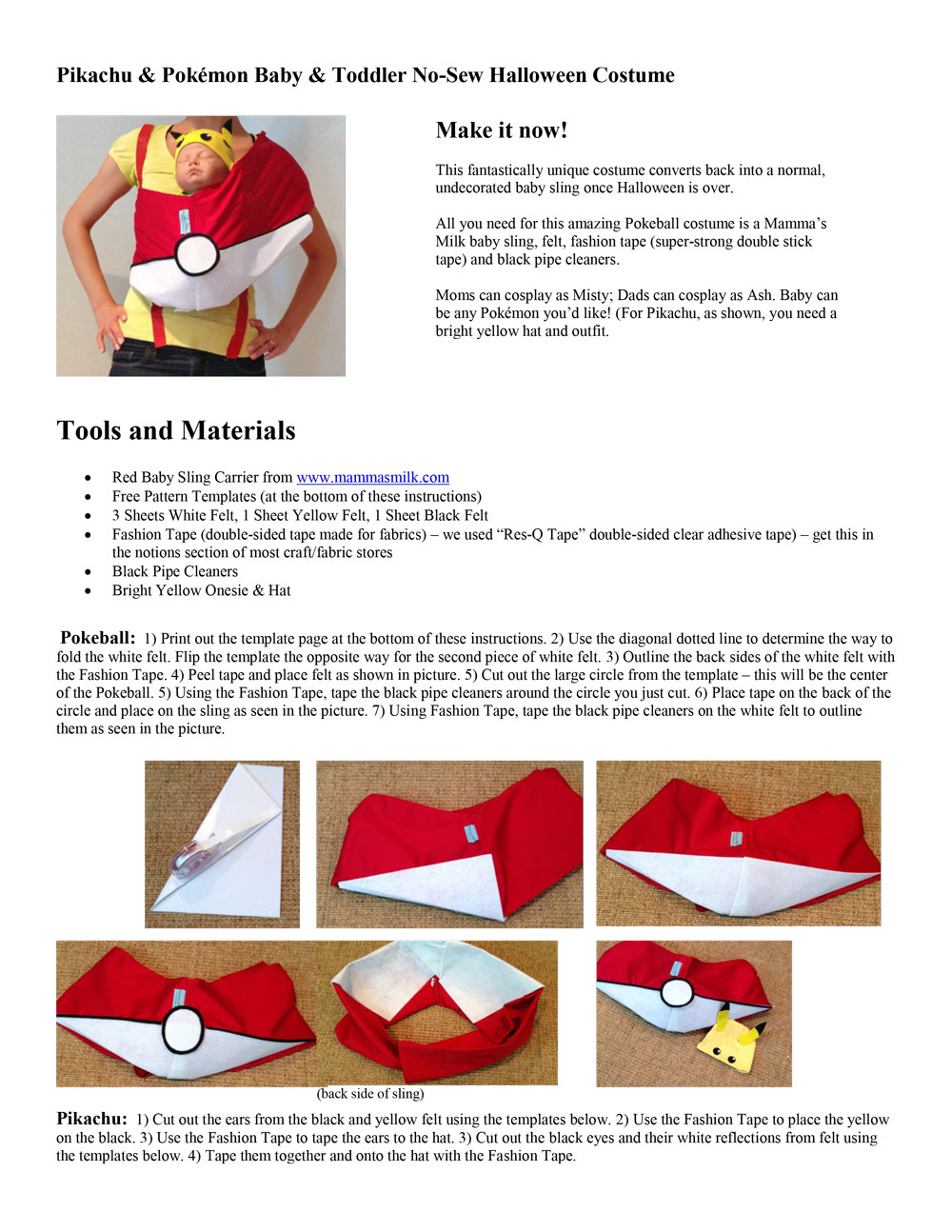 Mom and Baby DIY Baby Sling Halloween Costume - Pokemon