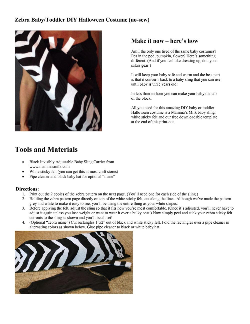 Zebra Baby Sling DIY Pattern