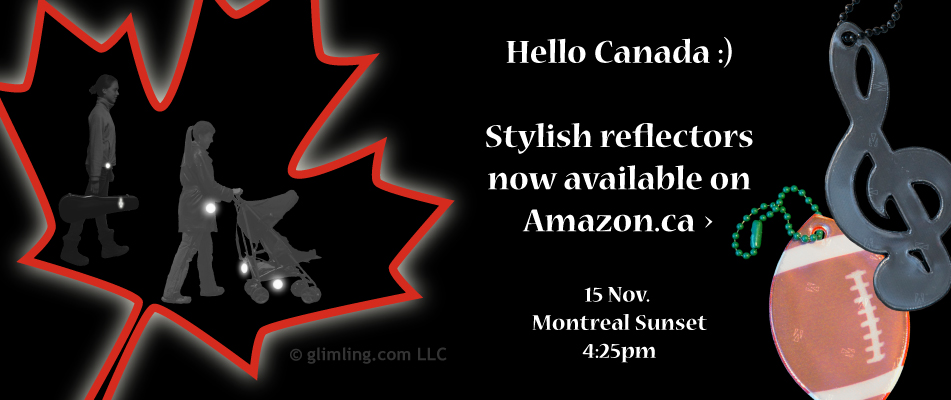 funflector reflectors available on Amazon.ca - Montreal sunset November 15