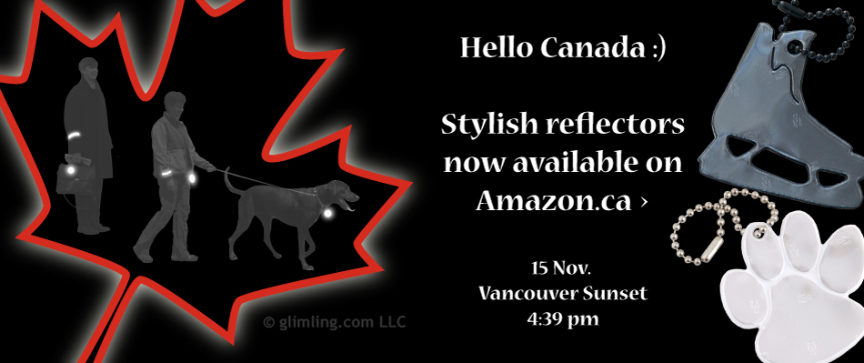 funflector safety reflectors available on Amazon.ca - Vancouver sunset November 15
