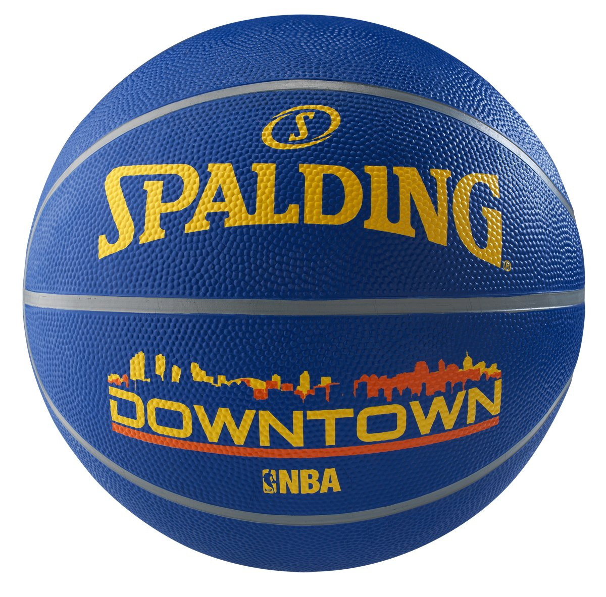 Spalding Down Town Basketball, Size 7 (Blue/Yellow)