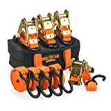 Badass Moto Ultimate Ratchet Straps Tie Downs - 1.5 in X 10 Foot 3300 Break Str Motorcycle Tie Down Straps 4 Pk - Heavy Duty Padded Grips, Duffle Bag, Ratchet Strap Keepers. for Trailer, Cargo, Truck (Color: Safety Neon Orange, Tamaño: 10 Ft. 3300 Lb Cap. S Hook - 4 Pack)