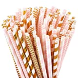 Biodegradable Paper Straws, 100 Pink Straws/Gold Straws for Party Supplies, Birthday, Wedding, Bridal/Baby Shower Decorations and Celebrations (Color: Gold/Pink, Tamaño: Gold/Pink Straws)