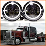 H6024 LED Replacement Round Headlights 7 Inch 75 Watt Halo Ring Amber Turn Signal High Low Beam DRL Light Bulb Combo for Trucks Freightliner Century 95 Peterbilt 379 EXHD 359