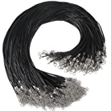 150Pcs Black Waxed Cotton Necklace Cord Necklace Chain with Lobster Claw Clasp for Bracelet Necklace and Jewelry Making (Color: Necklace Cord-150Pcs)