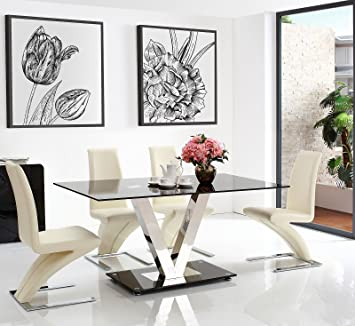 Vidal Black Glass Dining Table (160 w x 90 d x 75 h cm) with 6 Ivory Zed Dining chairs