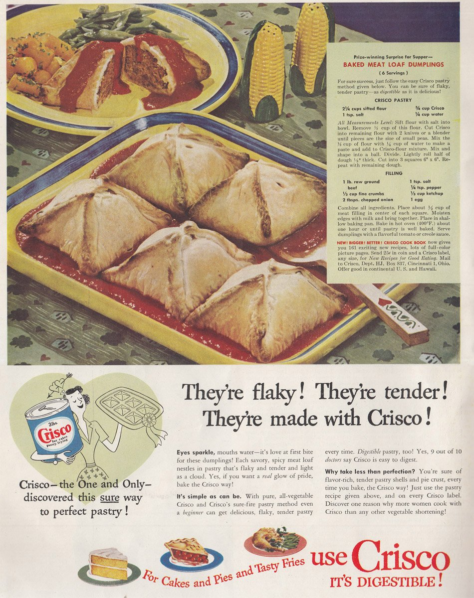 Baked Meat Loaf Dumplings, 1950 Crisco Print Ad