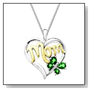 Emerald Butterfly Mom Heart Pendant Necklace