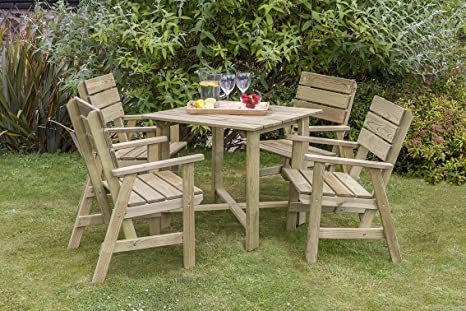 Stunning wooden 4 seater dining set Natural timber finish Four Chairs and a Table High quality and long lasting Pressure treated timber Great for gardens, patios and balconies.