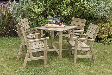 Impresionante juego de comedor 4 plazas de madera acabado de madera Natural cuatro sillas y una mesa alta calidad y larga duración madera tratada para jardines, patios y balcones.