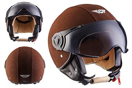 MOTO H44 - Leather brown - brun Jet moto casque Vespa pilot scooter mofa moto-casque ECE certified - XS S M L XL