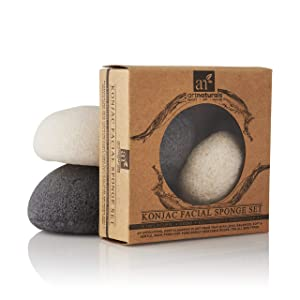 ArtNaturals Konjac Facial Sponge Set - 2 Pack (Charcoal Black and Natural White) - Natural Great for Sensitive, Oily and Acne Prone Skin - Beauty Facial Scrub for gentle deep cleaning and exfoliation (Color: Black and White)