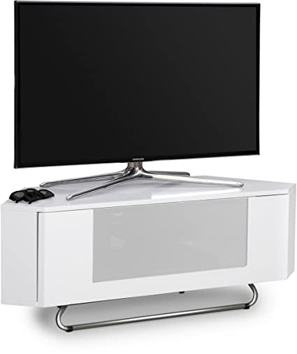 'Centurion Supports Hampshire corner-friendly Blanc brillant avec optiwhite beam-thru Télécommande de porte écologique 66 cm -50 cm Meuble TV à écran plat