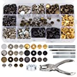 146 Set Snap Fasteners Kit + Leather Rivets, Snap Buttons Press Studs, Double Cap Rivet with Fixing Tools for Leather, Coat, Down Jacket, Jeans Wear (Snap Fasteners + Leather Rivets Kit) (Color: multicolored, Tamaño: Snap Fasteners + Leather Rivets Kit)