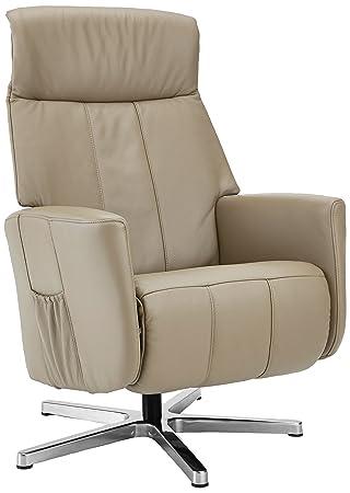 Sino-Living SE-822 Relax und Ruhesessel mit manueller Verstellung, dickleder / beige